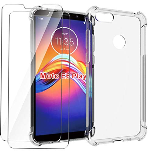 HYMY Funda para Motorola Moto E6 Play Smartphone + 2 x Cristal...