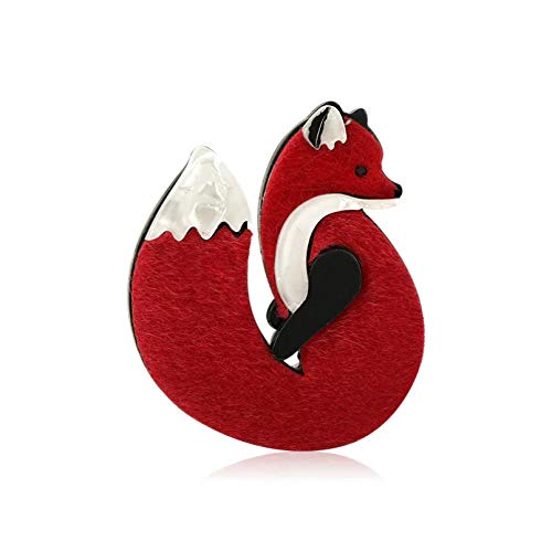 Owenqian Ladies Brooch, Acrylic Leather Fox Brooches Pins Gold Color Handmade Fashion Animal Brooch Scarf Clip Suit Hats Dress Accessory