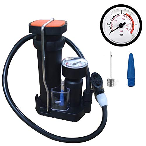 OY Mini Bike Pump with Pressure Gauge Portable Bicycle Tire Pump Presta and Schrader Fits Bike Balloons Swimming Rings