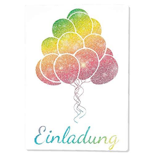 15 x Einladungskarten Kindergeburtstag Ballon Glitzer - Größe A6 - Coole Einladung zum Geburtstag für Mädchen und Jungen - Witzige Kinder Einladungskarte - Luftballon