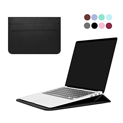 "MasiBloom 16"" PU Leather Laptop Sleeve Case with Stand Function for MarBook Pro 16 inch with Touch ID & Touch Bar 2019 Released (Model: A2141) Ultra Thin Bag (for 16' MacBook Pro, PU- Black)"