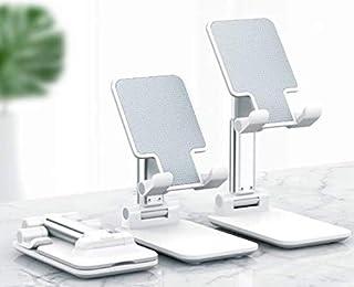حامل للتابلت او الهاتف الخلوي محمول وقابل للطي، متعدد الاغراض وقابل للتعديل ويمكن تثبيته على الطاولة من توب هيج (لون ابيض)