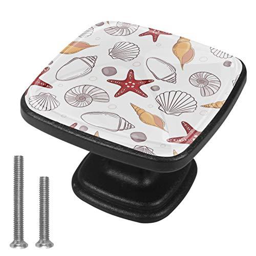 Paquete de 4 pomos para armario de cocina, diseño cuadrado de conchas, vida marina
