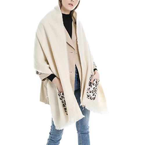 Damessjaal met zakken omslagdoek sjaal doek dekensjaal halsdoek luipaardpatroon patchwork gebreide sjaal met kwasten poncho cape wintersjaal plafondsjaal fleece sjaal elegant F wit
