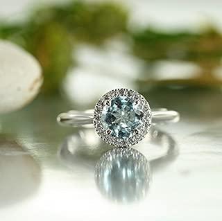 Balance-VS Diamond 7MM Round Aquamarine in 14K White Gold Diamond Halo Aquamarine Engagement Ring-Matching Wedding Band is Available.
