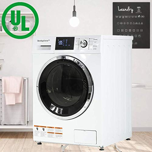 "BestAppliance Washer Dryer Combo 24"" Compact Laundry with 2.7Cubic. ft. Capacity Electric Dryer and Washer Stainless Steel Drum and Four Transport Bolts (Basic)"