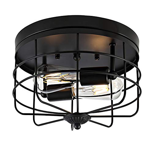 WINGBO Industrial Close to Ceiling Light Fixtures, Farmhouse Style Semi Flush Mount Lighting, Vintage Ceiling Lamp Light Bulb Metal Cage for Hallway Bedroom Living Room Dining Room Kitchen Decorations