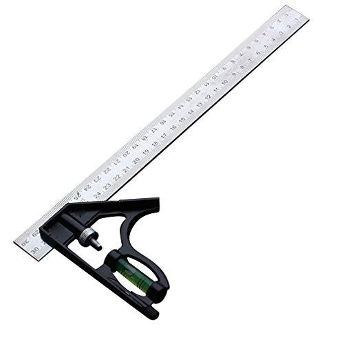 300 MM verstelbare combinatie vierkante hoek liniaal 45/90 graden met waterpas zilver