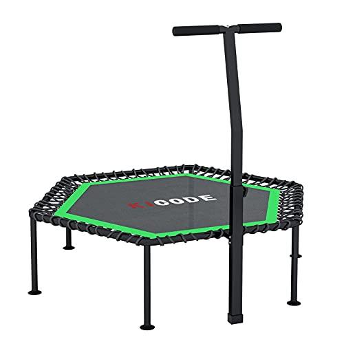 Fitness Trampolin Indoor Erwachsene Ø101cm, Mini Faltbares Trampolin mit höhenverstellbarer Haltegriff, Rebounder für Körpertraining und Aerobic zu Hause oder im Fitnessstudio, bis max. 150 kg
