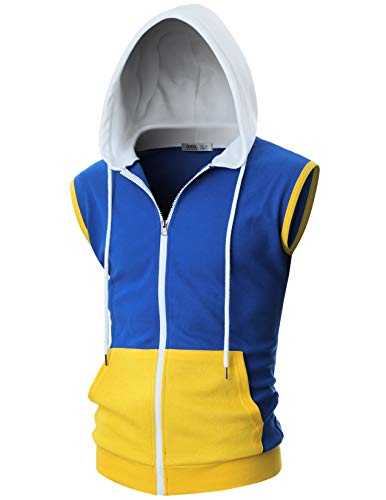 OHOO Mens Slim Fit Sleeveless Lightweight Zip-up Costume Hooded Vest with Single Slide Zipper/DCF052-BLUE/WHITE-XL