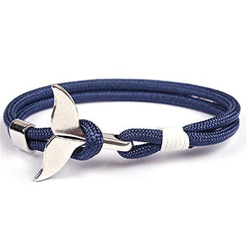 EXINOX Pulsera Nautica Ballena | Hombre Mujer | Vida Marina Mar | Color Plata (Azul Y Blanco)