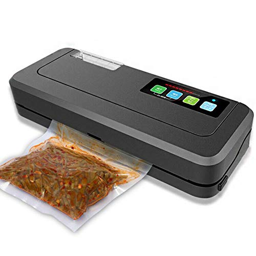 Vacuum Sealer 150W Built-In Cutter Automatic Food Packing Machine 10 Free Bags Best Vacuum Packer for Kitchen,Black