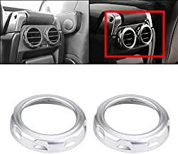 DEALPEAK 2Pcs/Set Car Rear Air Condition Vent Outlet Ring Trim Sticker for Land Rover Discovery 4 LR4 2009-2016, Automobile Back Side Air Conditioning Outlet Cover Frame Round Decorative Accessories