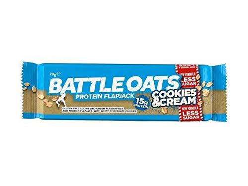 Battle Oats 24 Cookies & Cream Protein Flapjack Bars 70g Gluten Free