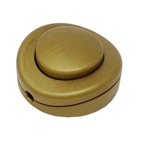 Fußschalter Gold Matt für Rundkabel 250V/2A Schnurzwischenschalter für Zuleitungen und Anschlusskabel Fußtretschalter Ø 65x30