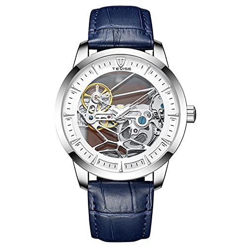 JTTM Relojes Analógicos Automáticos Mecánicos Relojes De Esqueleto Hombres Reloj con Correa De Cuero Azul Relojes De Pulsera Impermeables para Hombres De Negocios,Plata