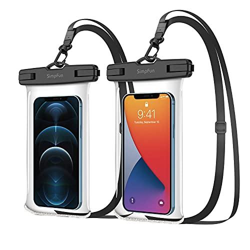 SIMPFUN Funda Impermeable Móvil 7.0 Pulgadas (2 Unidades) Funda Protectora de Agua móvil IPX8 para Nadar, bañarse y cocinar, para iPhone 12pro/12pro MAX/Galaxy S20/HUAWEI P30/Xiaomi