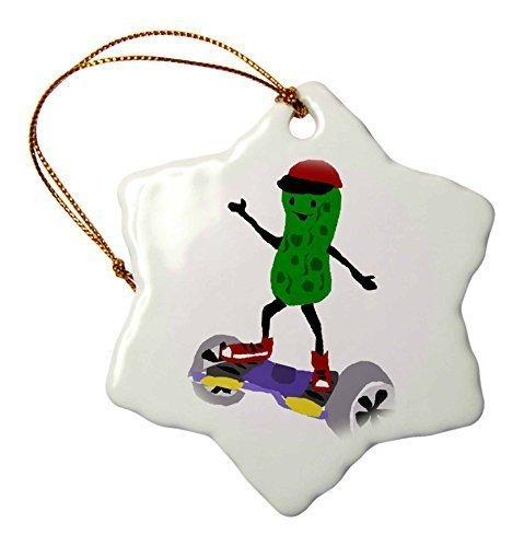 Lustiges Pickle Using motorized Skateboard Art – Schneeflocken-Ornament, Porzellan