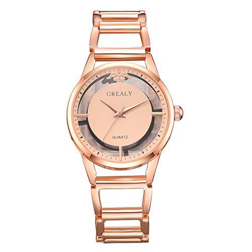 GJHBFUK Reloj Mujer Elegante Reloj De Aleación para Mujer, Esfera Redonda, Pantalla Analógica, Reloj De Cuarzo, Oro Rosa