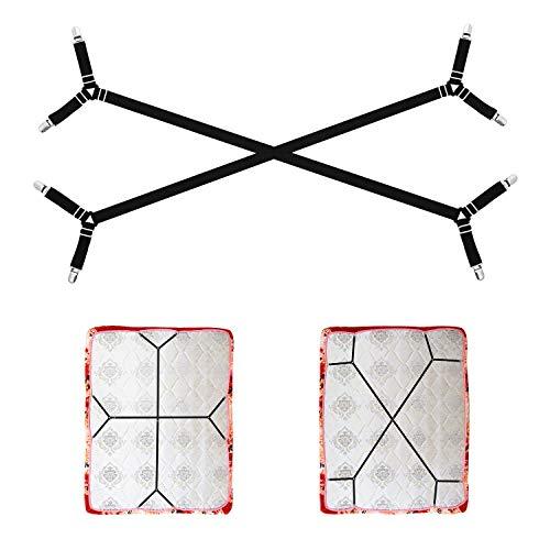 AILZPXX Bettlaken-Halterungsriemen, 2 verstellbare dreieckige Spannbettlaken-Clips, elastische Überkreuz-Eckenhalter für alle Bettlaken, Bettlaken