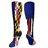 Maryland American USA Flag Pride Knee High Sport Compression Long Stockings For Soccer Jogging