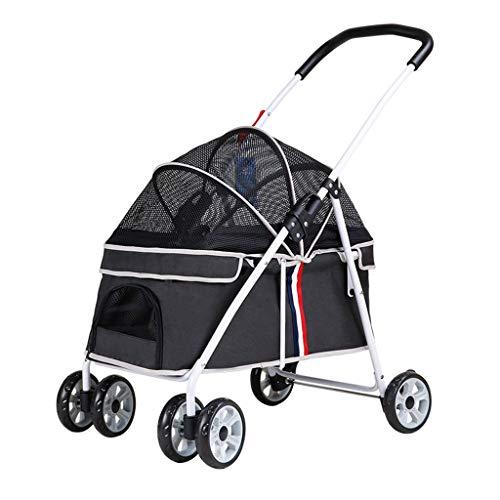 KHUY Passeggino per Cani 20 kg Jogging Passeggini per Gatti Cani, Senza Zip Entrata, Passeggini Cane Carrozzine Carrello con Tenda Regolabile (Color : Black)