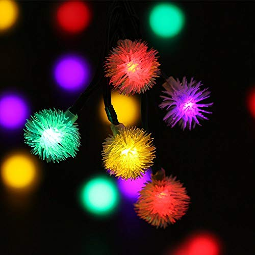 iihome Outdoor Solar Lights 50 LED Dandelion Ball String Fairy Light Solar Power Waterproof Lights Outside Garden Camping Patio Party Christmas (Multi-Colored)