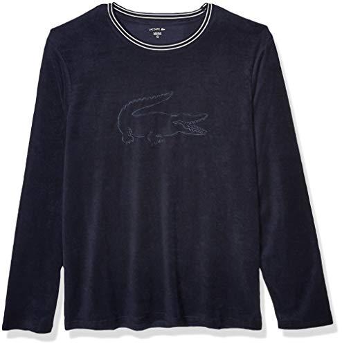 Lacoste Herren Long Sleeve Crewneck Shower Terry Pullover Lounge Sweatshirt Pyjama-Oberteil (Top), Nachthimmel mit weißem Logo, Medium