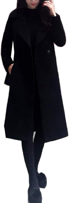 Baseby Women Wool Blended Slim Casual Classics Merino Trench Coat Jacket