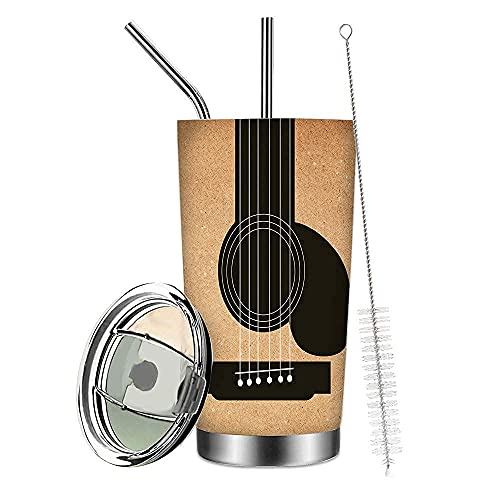 To My Best Friend 20 oz Guitar Travel Tumbler Mug Stainless Steel Vacuum Insulated Coffee Cup with Lid and Straw Double Wall Water Bottle (Guitar)