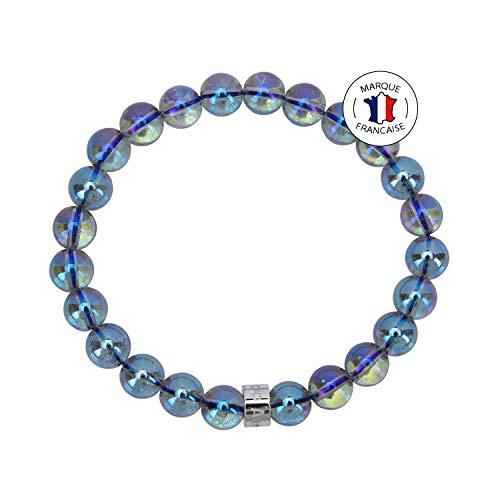 Attraction ZenTM – Cosmic Energy Bracelet – Natural Stones – Brazilian Aura Quartz – Stainless Steel Z Bead – Expandable Bracelet – Handmade – Stones 8 mm