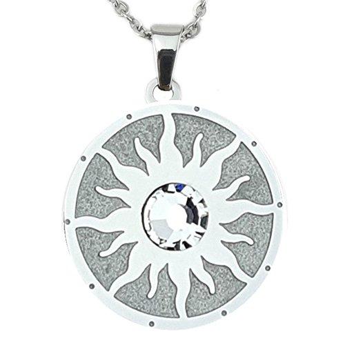 Symbol der Sonne Magnet Glamour Kettenanhänger mit Swarovski Eiskristall Energetix 4you 2795 handveredelte Unikate Sun Symbol inkl. Kette
