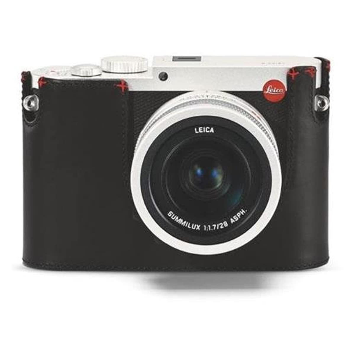 Leica Protector - Q (Typ 116), Leather, Black, no Embossing, red Hand Stitch