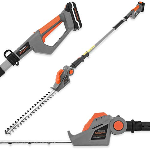 Terratek Long Reach Cordless Electric Hedge Trimmer 18V/20V-Max Lithium-Ion 2.4m Telescopic...