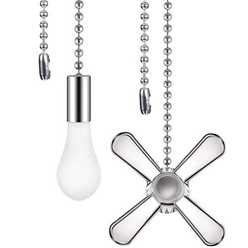 2 Stücke Zugkettenset in Form Eines Metallventilators und Einer Glühbirne mit Stecker, 1 Stück Verlängerungsperlen Zugkette im Karton (Silber)