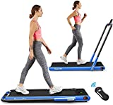 Goplus 2 in 1 Folding Treadmill, 2.25HP Under Desk Electric Treadmill, Installation-Free, with Remote Control, Bluetooth Speaker and LED Display, Walking Jogging Machine for Home/Office Use (Blue)