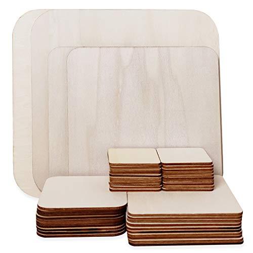 44 Stück Unbehandelte Holz Quadrate, 5 Größen Holzplatten aus Naturholz Blanko Holzscheiben Quadratisch für DIY Handwerk, Pyrografie Kunst, Kunst schnitzen, Untersetzer, Malen, Dekorationen (44 Stück)