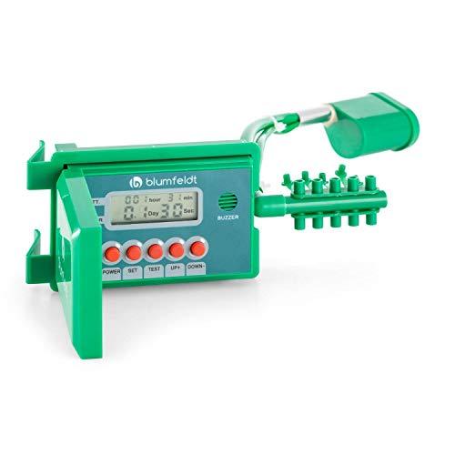 blumfeldt Aquanova - Sistema d'Irrigazione Automatico, Fino a 10 Vasi, Tubo Flessibile in Vinile di 10 Metri, Schermo LCD per Livello dell'Acqua e della Batteria, Picchetti in Acciaio, Verde
