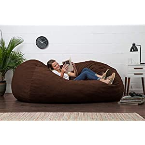 Big Joe Fuf Foam Filled Bean Bag Chair, Espresso Comfort Suede, XL