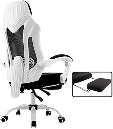 WSDSX Krzesło biurowe, wygodne podnoszące obrotowe krzesło do gier krzesło komputerowe krzesło siatkowe oparcie ergonomiczne krzesło duże krzesła biurowe fotel do klęczenia fotel, biały