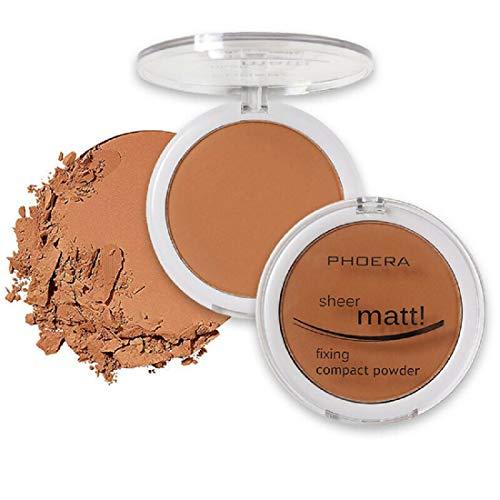 PHOERA - Set di base per trucco trasparente, opaca, compatta, pressata e sciolta per il viso, a lunga durata, per la pelle, vitamina E Beauty Blender – 107 sabbia