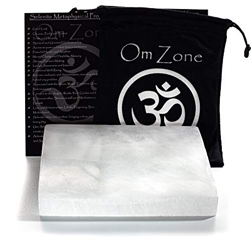 Om Zone Moroccan Selenite Charging Plate 6 x 6 inches Polished Selenite Crystal Charging Station for Cleansing and Charging Crystals and Collection of Crystals and Healing Stones