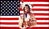 Yantec Outdoor - Hissflagge USA mit Indianer 90 * 150 cm Flagge