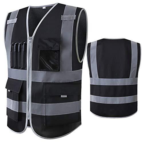 Chaleco de seguridad negro reflectante con bolsillos y cremallera, chaleco de construcción con rayas reflectantes de alta visibilidad, uniforme de trabajo (L, negro)