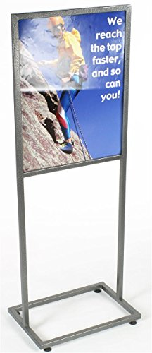Free-Standing Metal Sign Frame for 22 x 28 Graphics, Top Loading, Floor Poster Holder with Floor Levelers - Charcoal-Speckled Finish, Metal