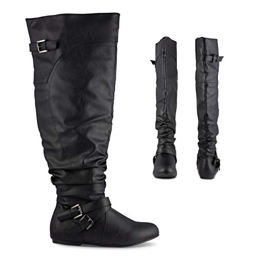 Twisted Damen Shelly Wide Wade Slouchy Over The Knee Kunstleder Fashion Stiefel, Schwarz (schwarz), 39 EU