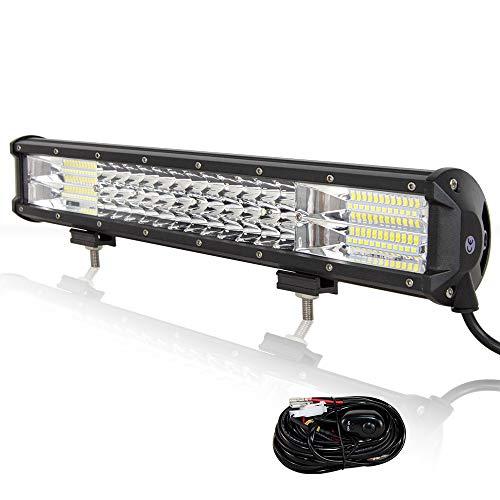 Willpower 46cm 252W LED Arbeitsscheinwerfer Bar LED Scheinwerfer 12V 24V mit Kabelbaum Flutlicht Reflektor Combo Arbeitslicht Zusatzscheinwerfer für Auto Offroad Traktor SUV UTV ATV