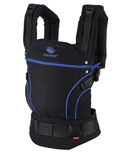 manduca First Porte Bebe > Blackline AbsoluteBlue < Porte-Bébé en Coton Biologique, Multi Réglable, 3 Positions (face à soi, sur la hanche & dans le dos), 3,5-20kg, Fabriqué en Europe, noir/bleu