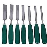 Stechbeitel Set 7 Stück 55# Stahl Holzmeißel Holzschnitzmeißel mit abgeschrägter Kante für die...
