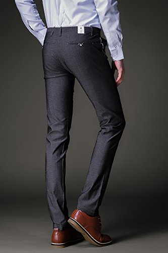 FLY HAWK Mens Business Casual Dress Pants Stretchy Straight Leg Dress Trousers Grey Slacks US Size 29